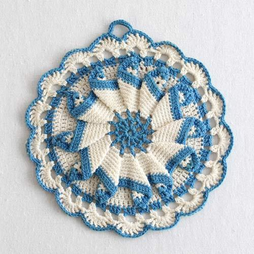 Vintage Blues Potholder Crochet Pattern
