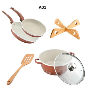 QueenTime 5pcs/set Non-Stick Frying Pan Cooware Set Wood Truners Spatula Soup Pot Holder Aluminum Alloy Pan Combo Cooking Tools