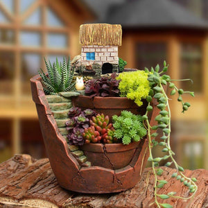Micro Landscape Artificial Flowers Succulent Plants Pot Tiny Creative Flower Pot Holders Hanging Garden Design Air Garden