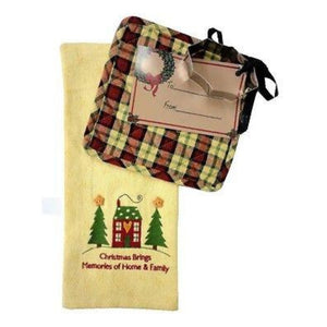 Christmas Dishtowel, Potholder and Holly Cookie Cutter Gift Set