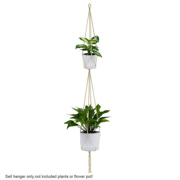 Hanging Macrame Plant Hanger Hook Planter Holder Basket for Garden Home Flower Pot Hanging Indoor Outdoor Decoration Cotton Rope
