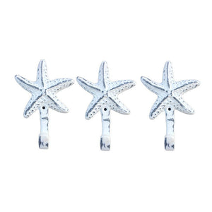 Starfish Wall Hangers Cast Iron Weathered White