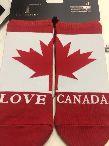 Ankle Socks - Canadian Flag w/ 'Love Canada'