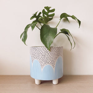 Blue Poppy Seed Leggy Planter - $50
