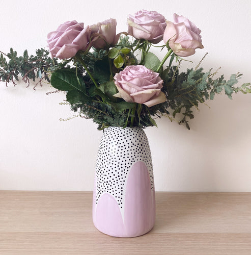 Lilac Poppy Seed Tapered Vase - $50