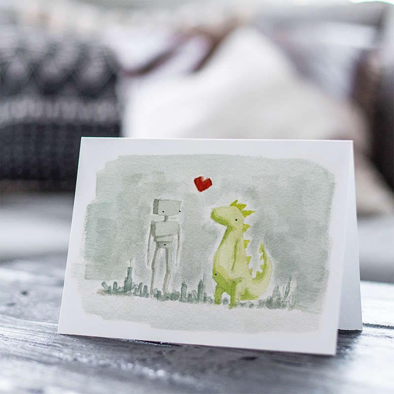 Giants in Love Greeting Card
