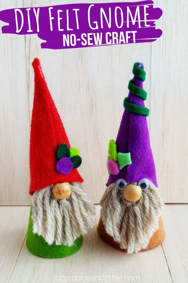 While we have so many magical crafts on Sugar, Spice and Glitter (including fairies, mermaids, dragons, and wizards), I realized we had no Easy Gnome Crafts for Kids – so naturally, we had to rectify that with today's Felt Gnome Craft for Kids.