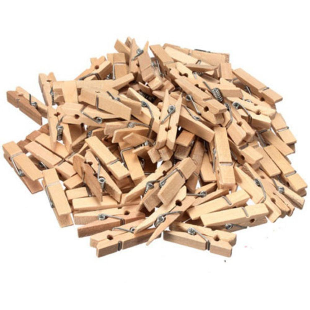 100PCS Natural Mini 35mm Wooden Clothes Pin Paper Photo Hanging Spring Clips Burlywood DIY Small Clip Free Shipping HG0232H