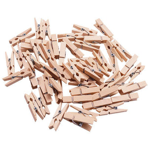 100pcs/lot 2.5cm Clothes Pegs Natural Clip Mini Wooden Clothes Photo Paper Peg Clothes Pin Laundry Hangers Wedding Party JK0451