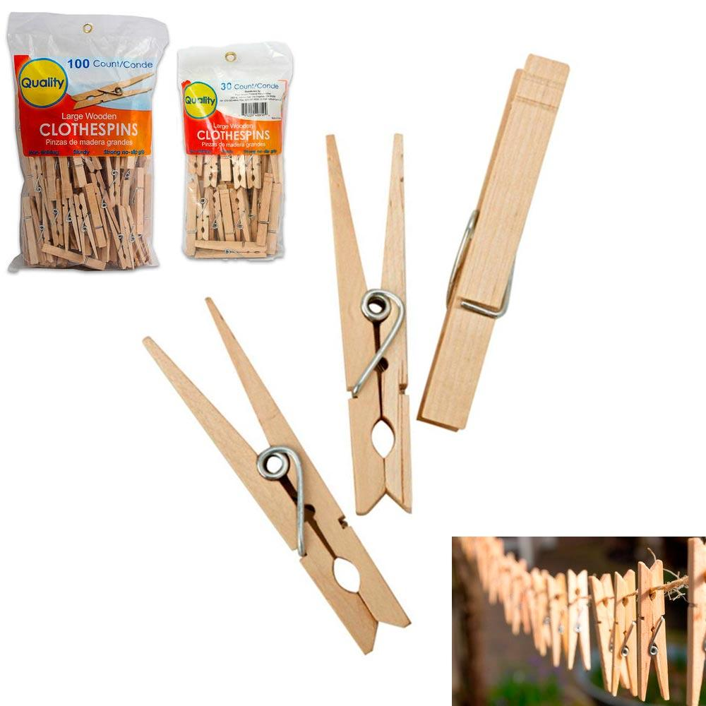 "130 Wooden 3 1/4"" Inch Large Clothespins Laundry Spring Wood Clothes Pins Crafts"