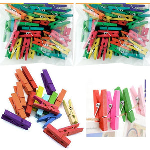 "120 Pc Mini Craft Clothespins Wood 1"" Small Arts Multi Color Clothes Pins Crafts"
