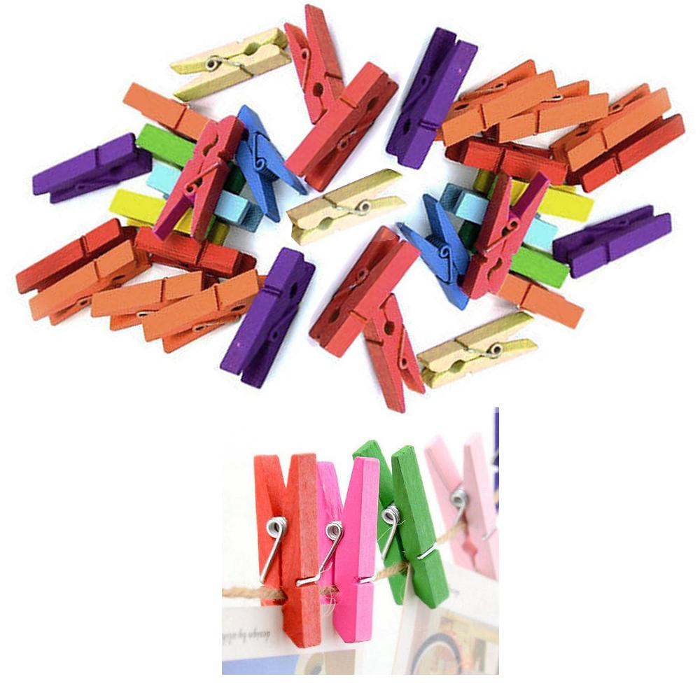 200Pcs Mini DIY Wooden Clothes Photo Paper Pegs Clothespin Cards Craft Clips New
