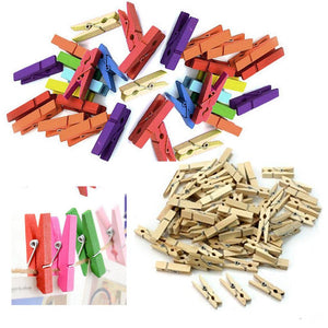 "200 Mini Craft Clothespins Wood 1"" Small Arts Paper Multi Color Tan Clothes Pins"
