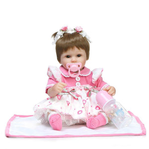 Fashionable Lovely Play House Toy Simulation Pigtails Baby Doll with Clothes Pink Skirt Size 16""