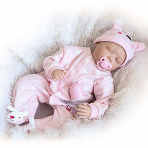 Fashionable Lovely Play House Toy Simulation Baby Doll with Clothes Pink Size 22""