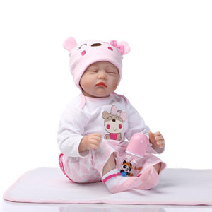 "22"" Mini Cute Simulation Baby Toy in Hippo Pattern Clothes Pink"