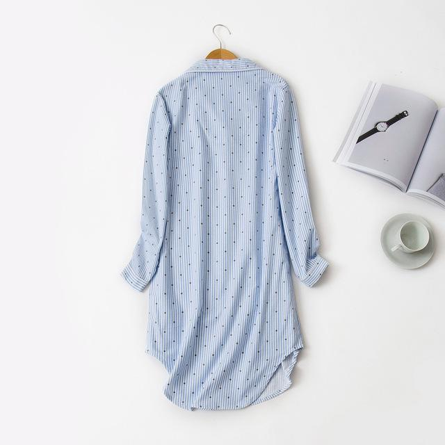 2018 Women Nightgowns Cotton Striped Nightdress Full Sleeve Turn-Down Collar Home Clothes Pink Blue Loose Sleepwear