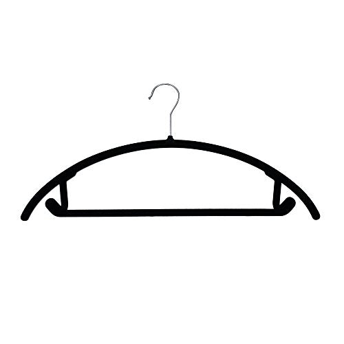 JVL Thin Velvet Touch Space Saving Non-Slip Suit Hangers Pack of 20, Recycled ABS Plastics, Nylon, Chrome Hook, Black, 46 x 0.5 x 25.5 cm