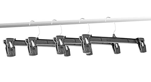 "Amiff Clothes Hangers. 10"" Pinch Grip Hangers Pack of 10 Black Hangers. Plastic Hangers for Pants and Skirts. Non-Slip Grip and Fixed Hook. Stores and Home. Storage and Organization."