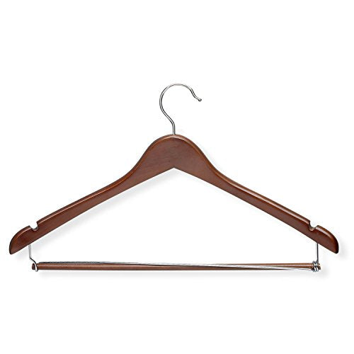 Honey-Can-Do HNG-01265 Contoured Suit Hanger with Locking Bar, 3-Pack, Cherry