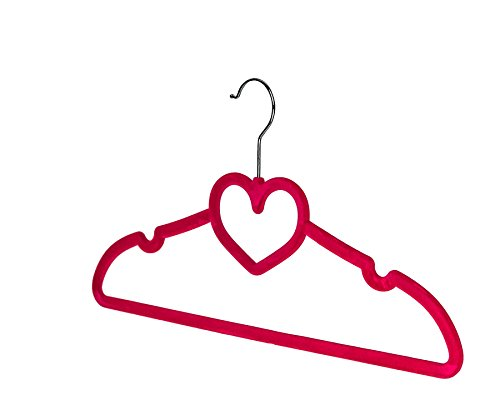 BriaUSA Clothes Hangers Heart Shaped Slim, Sturdy with Steel Swivel Chrome Hooks – Dark Pink – Set of 10