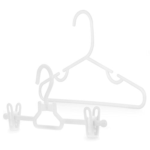 HANGERWORLD 20 White 11.8inch Plastic Kids Coat Clothes Garment Top Clip Hangers Closet Set Baby Toddler