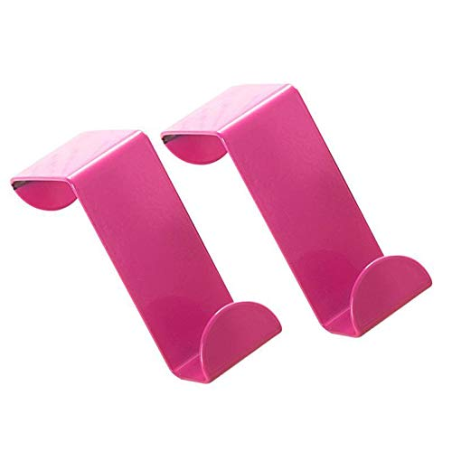 JCBIZ 2-Pack Over The Door Hooks Stainless Steel Seamless Nail-Free Bathroom Kitchen Home Office Z Shape Single Colorful Back Door Hook Rack Hanger Organizer Cloth Bag Towel Scarf Hat Pink