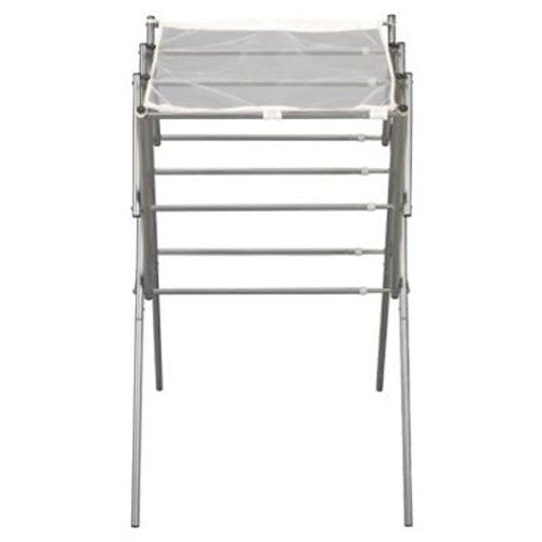 Household Essentials 5127 Collapsible Expandable Metal Clothes Drying Rack - Dry Wet Laundry Indoors - Satin Silver