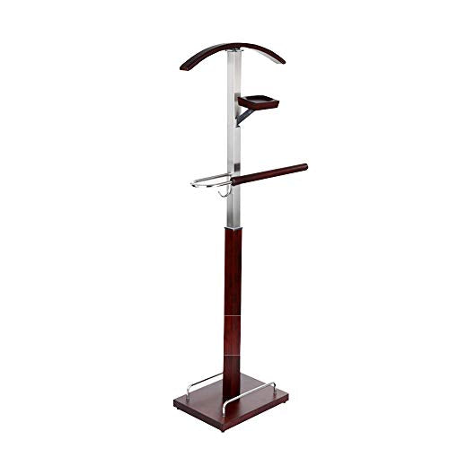 Chunlan Coat Racks Floor Suit Hanger, Stainless Steel Metal Valet Bracket, with Hanging Rails, Wooden Accessory Tray