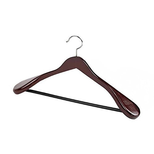 BRUIO Wooden Suit Hangers with Wide Shoulders Heavy Duty Natural Wood Hangers for Adults,2PCS