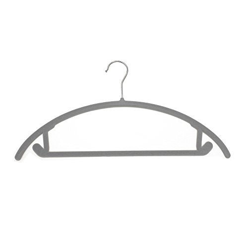 JVL Thin Velvet Touch Space Saving Non-Slip Suit Hangers Pack of 20, Recycled ABS Plastics, Nylon, Chrome Hook, Grey, 46 x 0.5 x 25.5 cm
