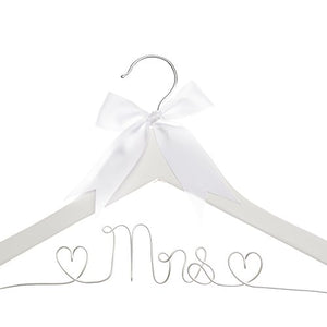 Ella Celebration Mrs Wedding Dress Hanger, Wood and Wire Hangers for Bride (White with Silver Wire)