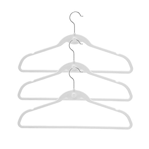 BriaUSA Cascade Hangers White Steel Swivel Hooks -Slim, Sturdy Saves You Extra Space - Box of 20