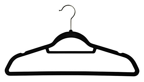 Jeronic Thin Non Slip Black Velvet Hangers, 50 Pack