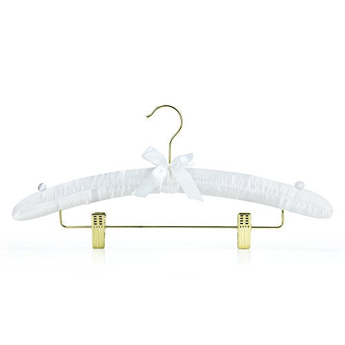 HANGERWORLD 5 White 17inch Satin Padded Pants Skirt Bar Clip Wedding Clothes Coat Hangers