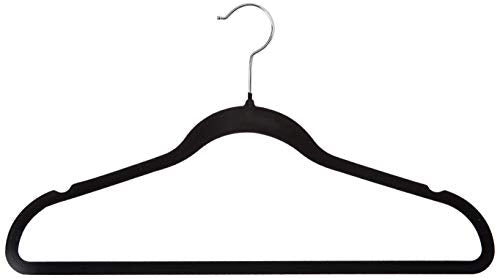 Homz Flocked, Non Slip, Ultra Slim, Swivel Neck, Black, 10-Count Velvet Suit Hanger, Piece