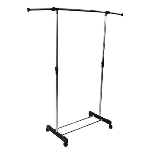 Binlin Clothing Rack,Adjustable 2-Rod Garment Rack - Rolling Clothes Organizer -Silver