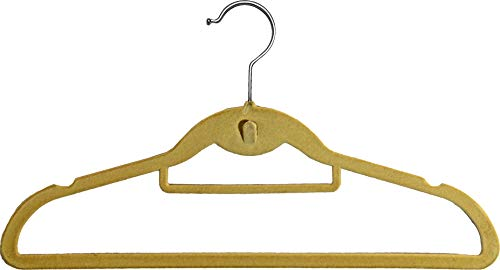 Beige Velvet Cascading Slim-Line Hanger with Notches and Tie Bar, Space Saving Stackable Suit Hangers with Chrome Hook (Set of 100) by The Great American Hanger Company