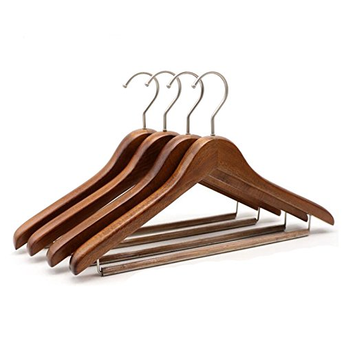 Kexinfan Hanger 4 Pcs Walnut Thick Wood Suit Garment Hanger With Locking Trouser Bar, Deluxe Antique Wood Coat Hanger With Non Slip Pants Bar