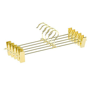Jetdio Metal Heavy Duty Pants Skirt Slack Hangers,Trousers Hangers with Two Adjustable Non Slip Clips Hanger Rack Swivel Hook, 12 Pack, Gold