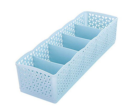 Grids Wardrobe Storage Box Basket Organizer Women Men Socks Bra Underwear Storage Box Plastic Container Organizer,26x8x6.5cm,Blue