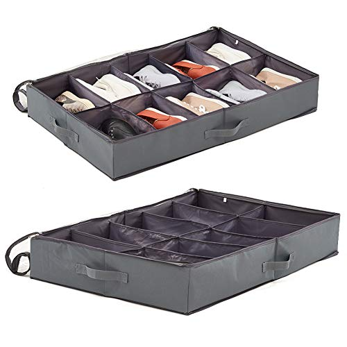 EZOWare 2 Pack Underbed Shoes Storage Bins 10 Pairs Shoes Under Bed Closet Fabric Storage Organizer Box Container Holder - Gray