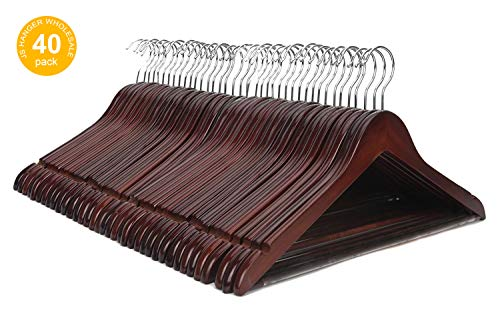 JS HANGER Wooden Suit Coat Hangers with Non-Slip Pants Bar Wholesale 40 Pack Walnut Finish