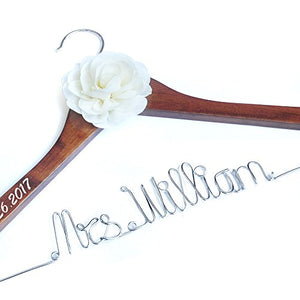 LOVEhandmade Personalized Wedding Hanger, Brides Hanger, Name Hangers, Bridesmaid Hangers, Bride Groom Hanger, Hanger with Flower