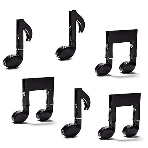 Musical Note Clips, 6 PCS Multi-Purpose File Clamp Sealing Clips Drying Cloth Clothespin Hanger Page Holder Folder Book Clips Arts Gifts Decoration Clips by FuturePlusX