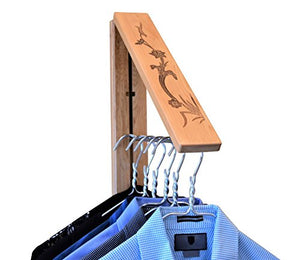 InstaHANGER Lotus Leaf Closet Organizer, The Original Folding Drying Rack, Wall Mount, Finely finished Pine