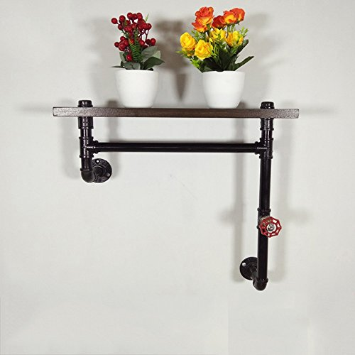 JJ_Industrial Hook/Wall Shelf/Iron Bookshelf/Solid Wood Word Shelf/Vintage Hose Industrial Wind Shelf/loft Old Pipe Wall Hanging/Clothing Store Hanger/Combo Racks (50 50 20cm)
