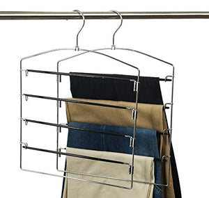 Nature Smile Clothes Pants Hangers 2pack Multi Layers Metal Pants Slack Hangers,Non-Slip 4-Tier Swing Arm Pants Hangers Rack Closet Storage Organizer for Trousers Jeans Scarf Skirts Hanging