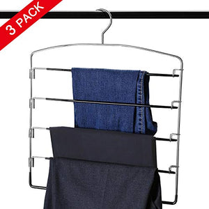MEOKEY 3 Packs Pants Hangers 5 Layers Non-Slip Swing Arm Clothes Hangers Space Saving Closet Storage Organizer for Jeans Pants Leggings Scarves Ties Towels