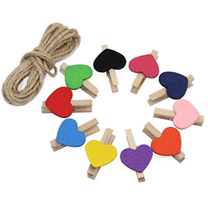 AIKE Mini Nature Wooden Photo Clips Clothespins Photo Paper Peg Red Heart DIY Craft Clips with 10m Jute Twine (Colorful Heart-50Pack)